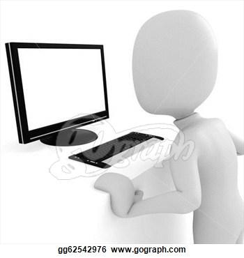 Man vs computer clipart.