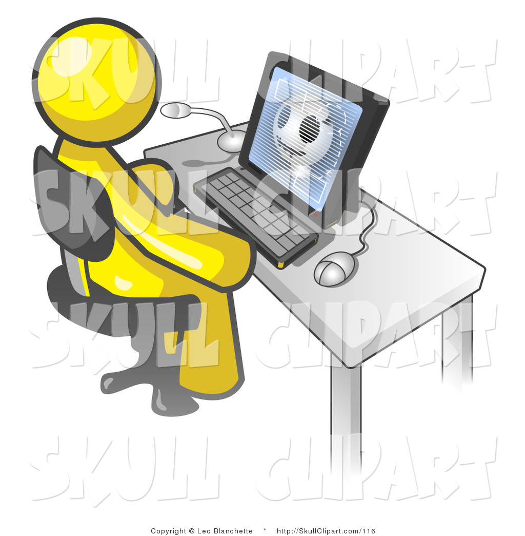 Vector Clip Art of a Yellow Doctor Man Sitting in Front of a.
