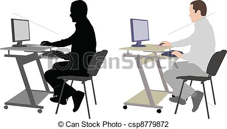 Vector Illustration of man sitting in front of computer.