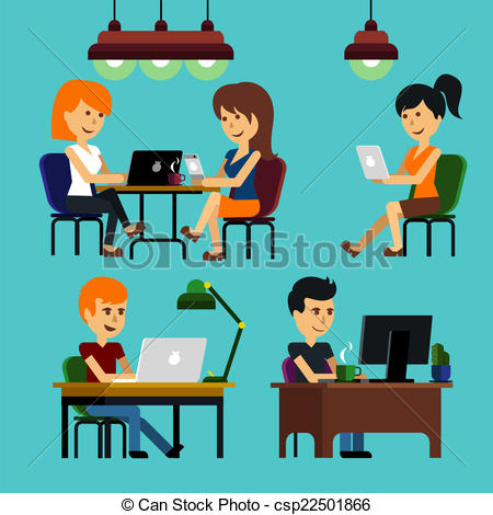 EPS Vectors of Man sitting on chair at table front of computer.