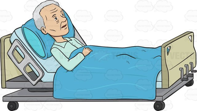 Man In Hospital Bed Clipart.