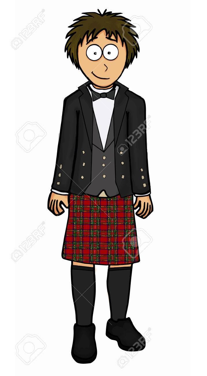 Man in scottish kilt illustration set.