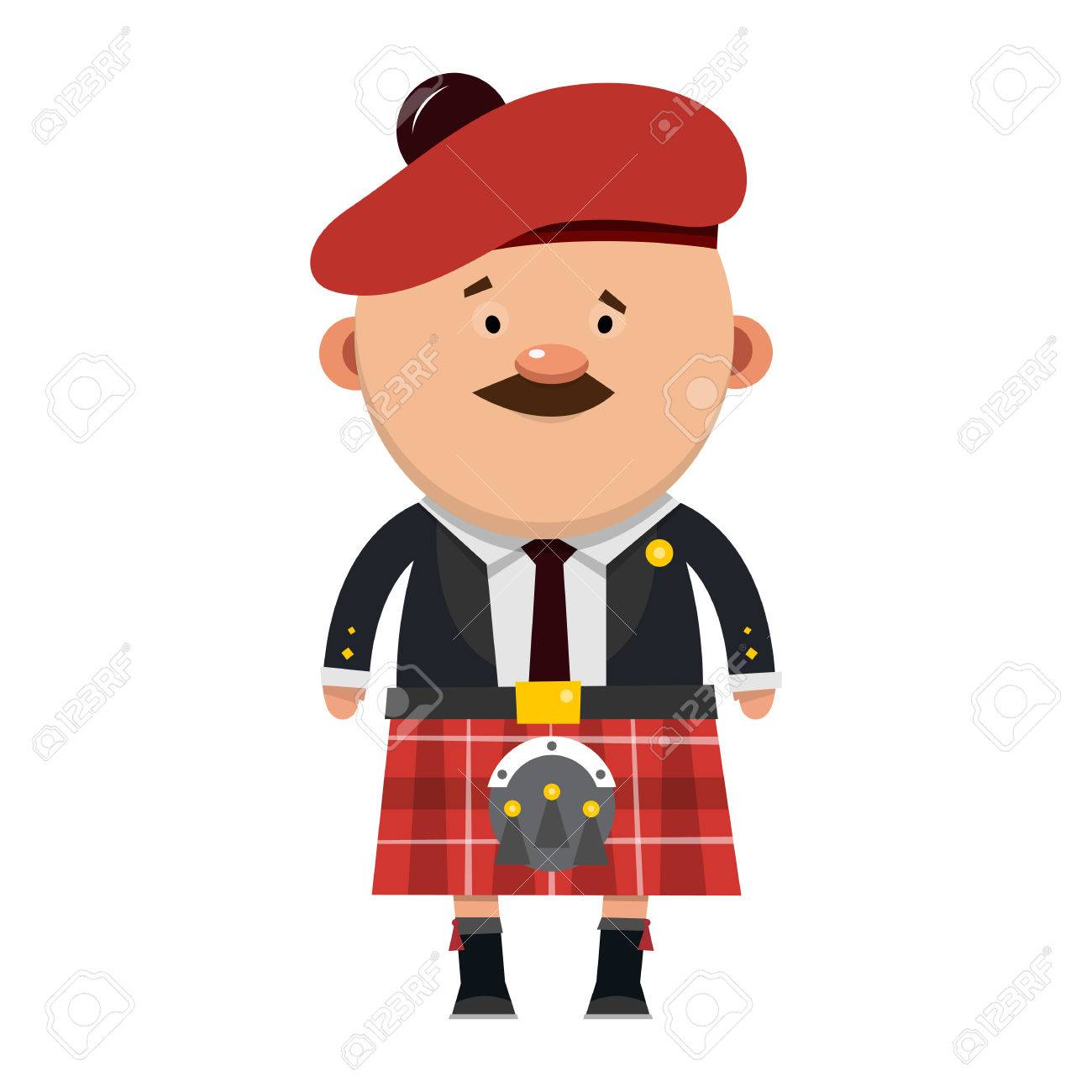 Scottish male with a mustache in a kilt..
