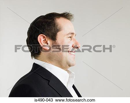 Stock Photo of Jewish man wearing a kippah is490.
