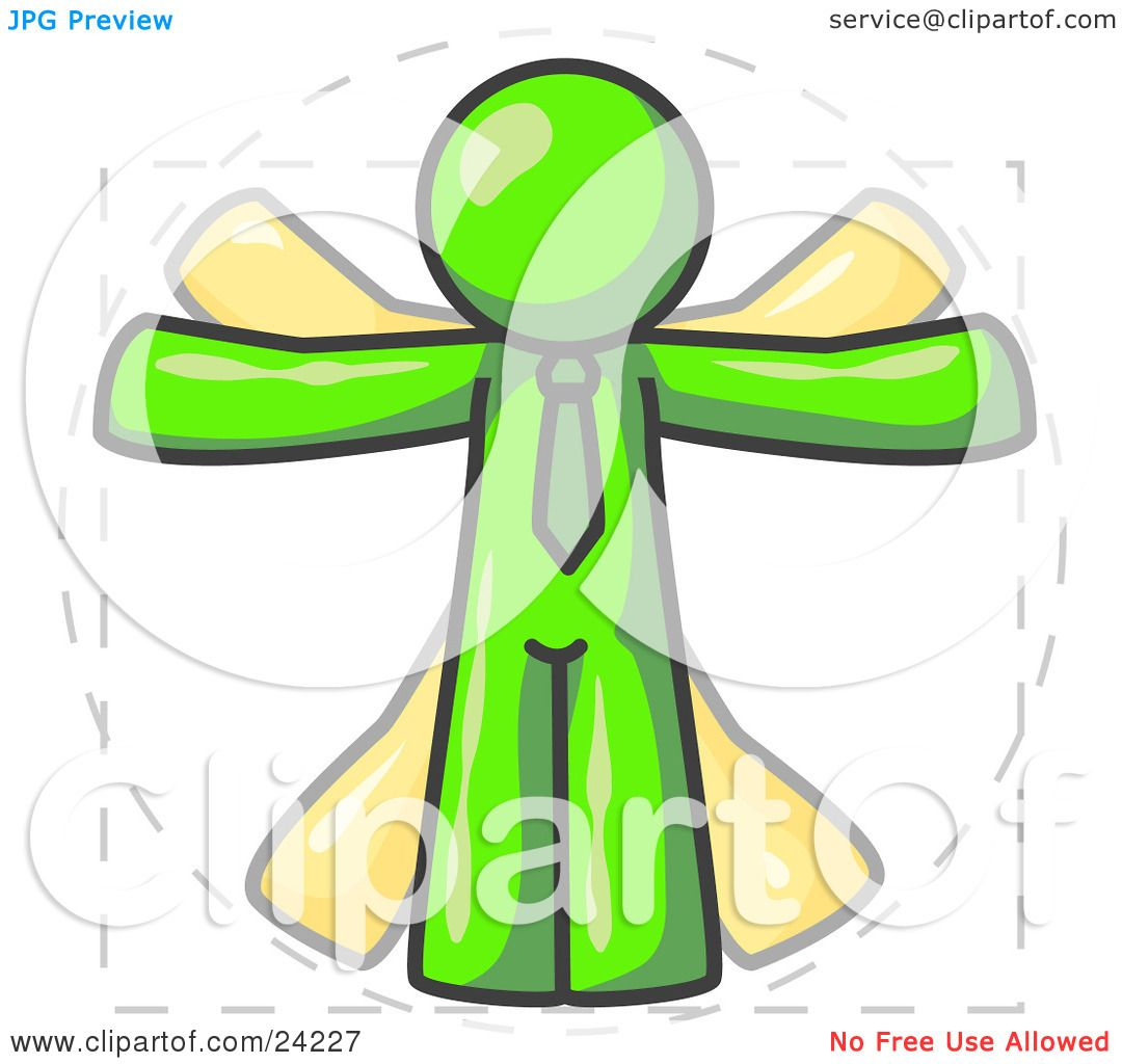 Clipart Illustration of a Man in Motion, Lime Green Vitruvian.