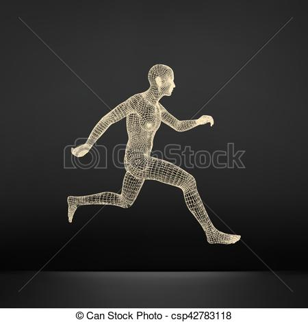 Vector Clip Art of 3d Running Man. Sport Symbol. Low.