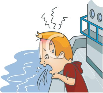 Man with Motion Sickness Puking Off the Side of a Boat.