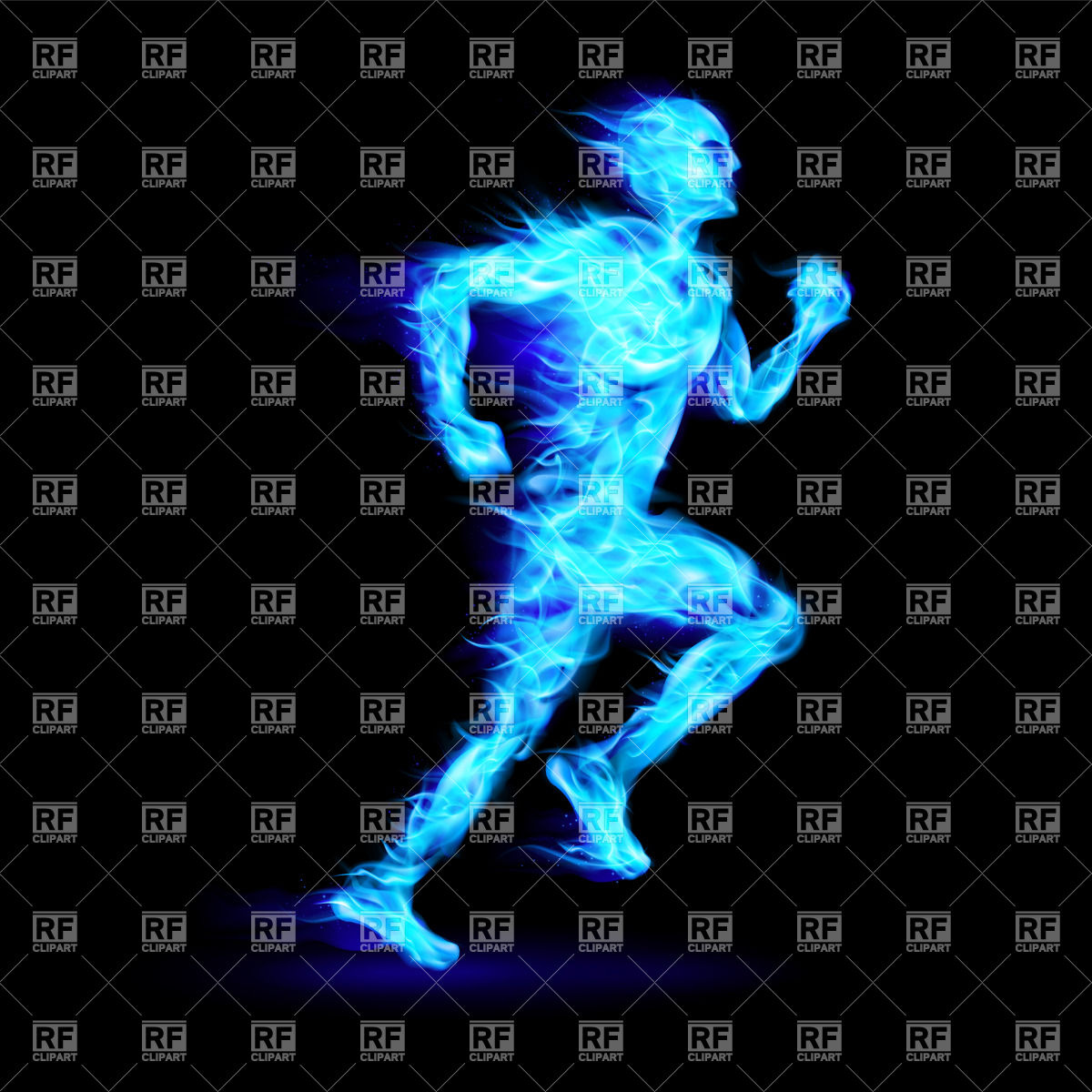 Blue fiery running man with motion effect Vector Image #34928.