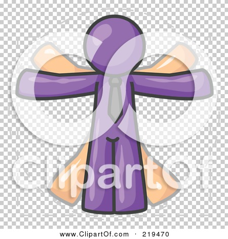 Clipart Illustration of a Man in Motion, Purple Vitruvian Cartoon.