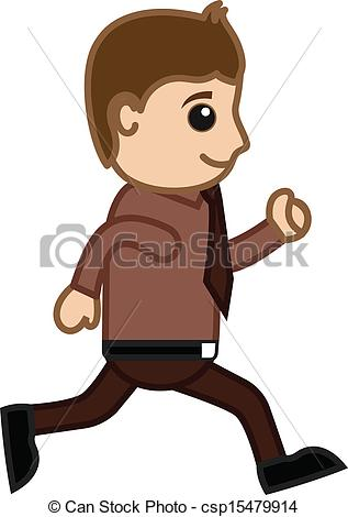 Vector Clip Art of Man Running in Office.