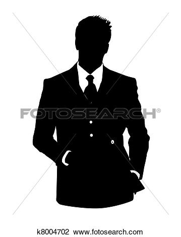 Clipart of business man avatar in blue suit k8394151.