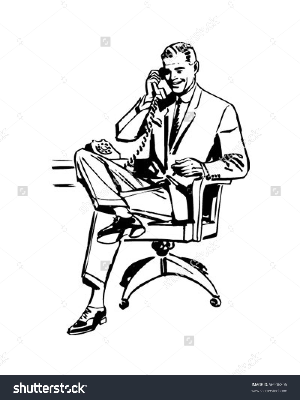 Man Office Chair Retro Clip Art Stock Vector 56906806.