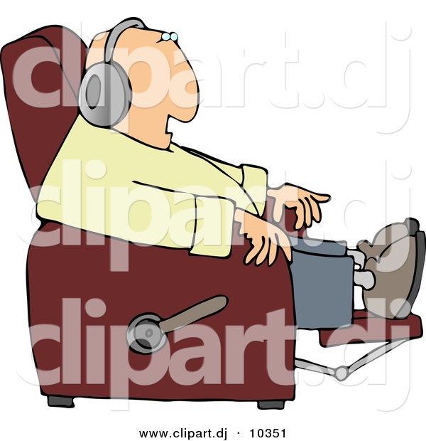 Clipart of a Cartoon Man Sitting in a Recliner and Listening.