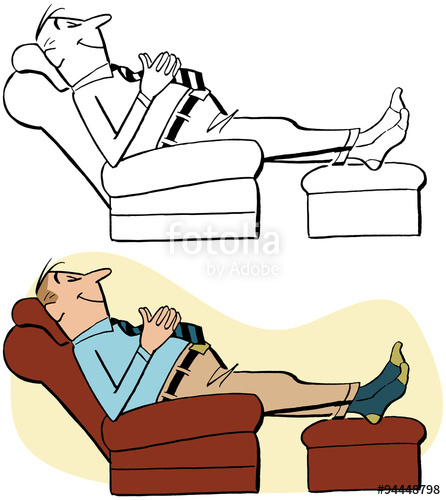 Man relaxing in recliner\