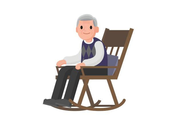 Old Man In Rocking Chair Clipart.