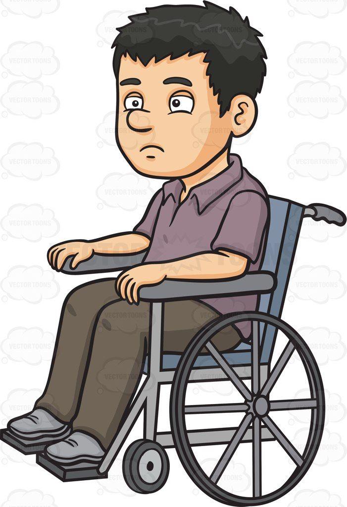 A disoriented man in a wheelchair #cartoon #clipart #vector.