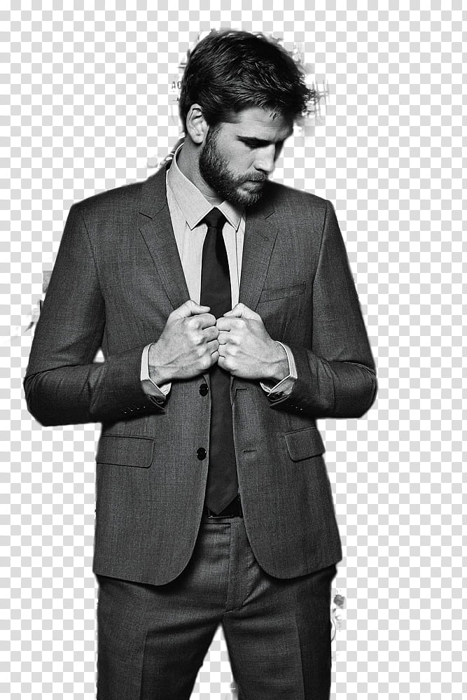 LIAM HEMSWORTH, man wearing grey suit jacket transparent.