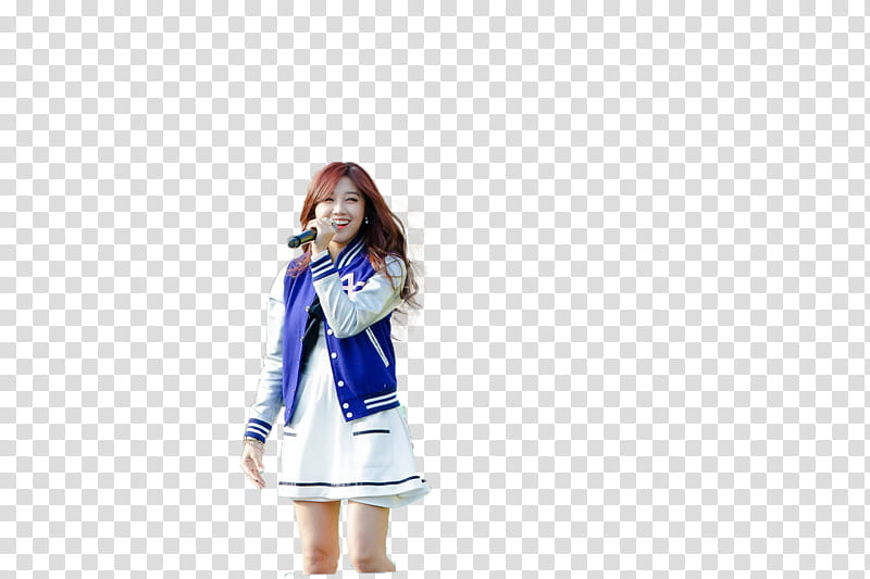 Render Eunji, woman in blue and white letter man jacket.