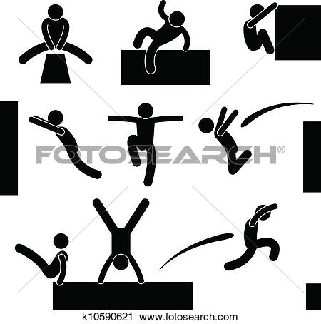 Clipart of Parkour Man Jumping Climbing Leap k10590621.