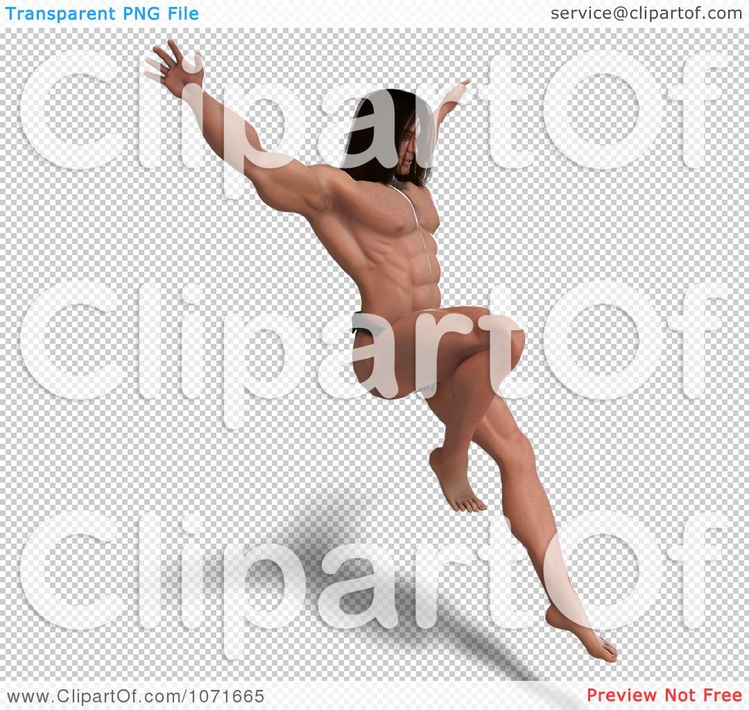 Clipart 3d Strong Tarzan Man Jumping 2.