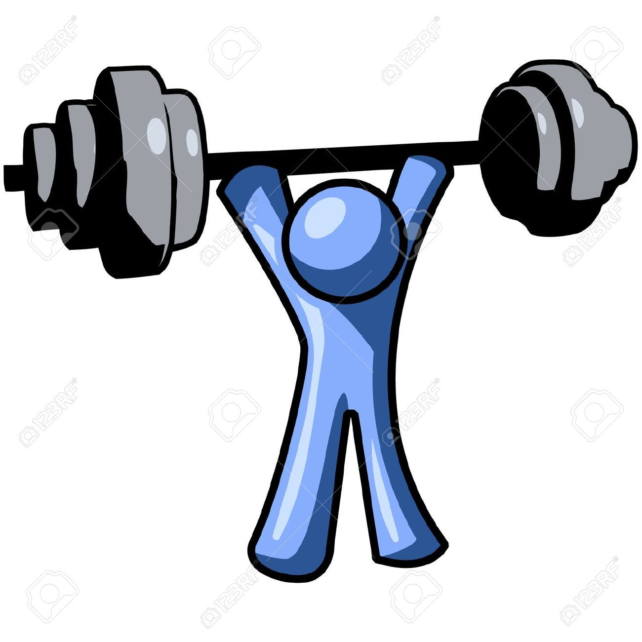 Man lifting barbells clipart.
