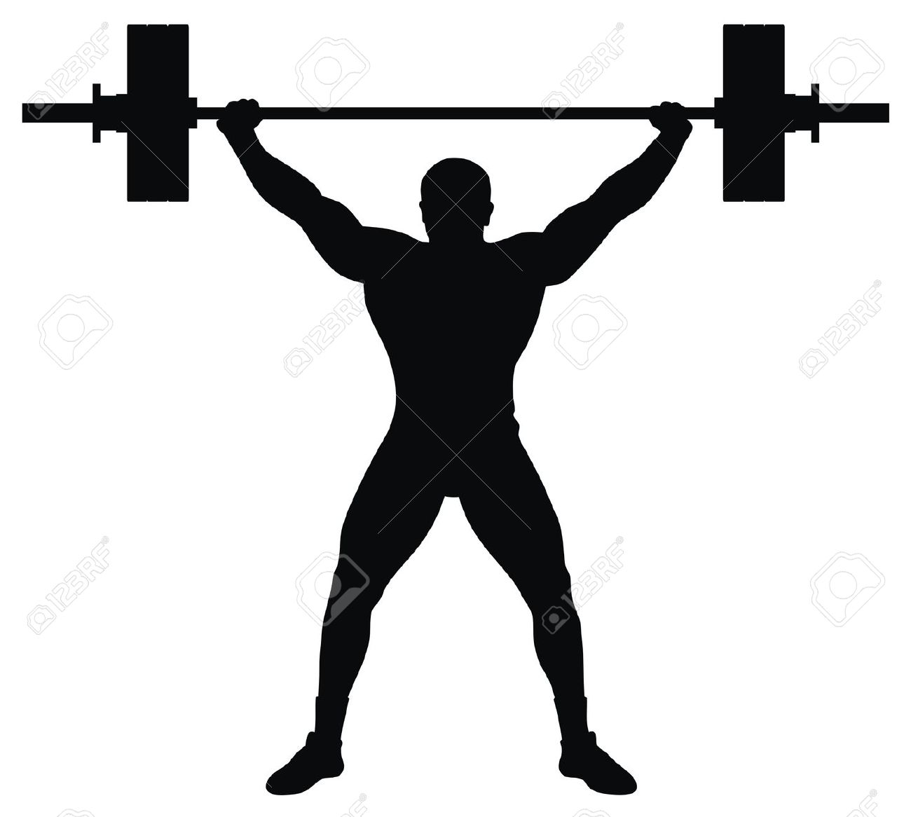 Man Lifting Weights Clipart.