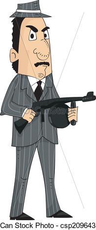 Vector Illustration of Mafia Man Machine Gun.