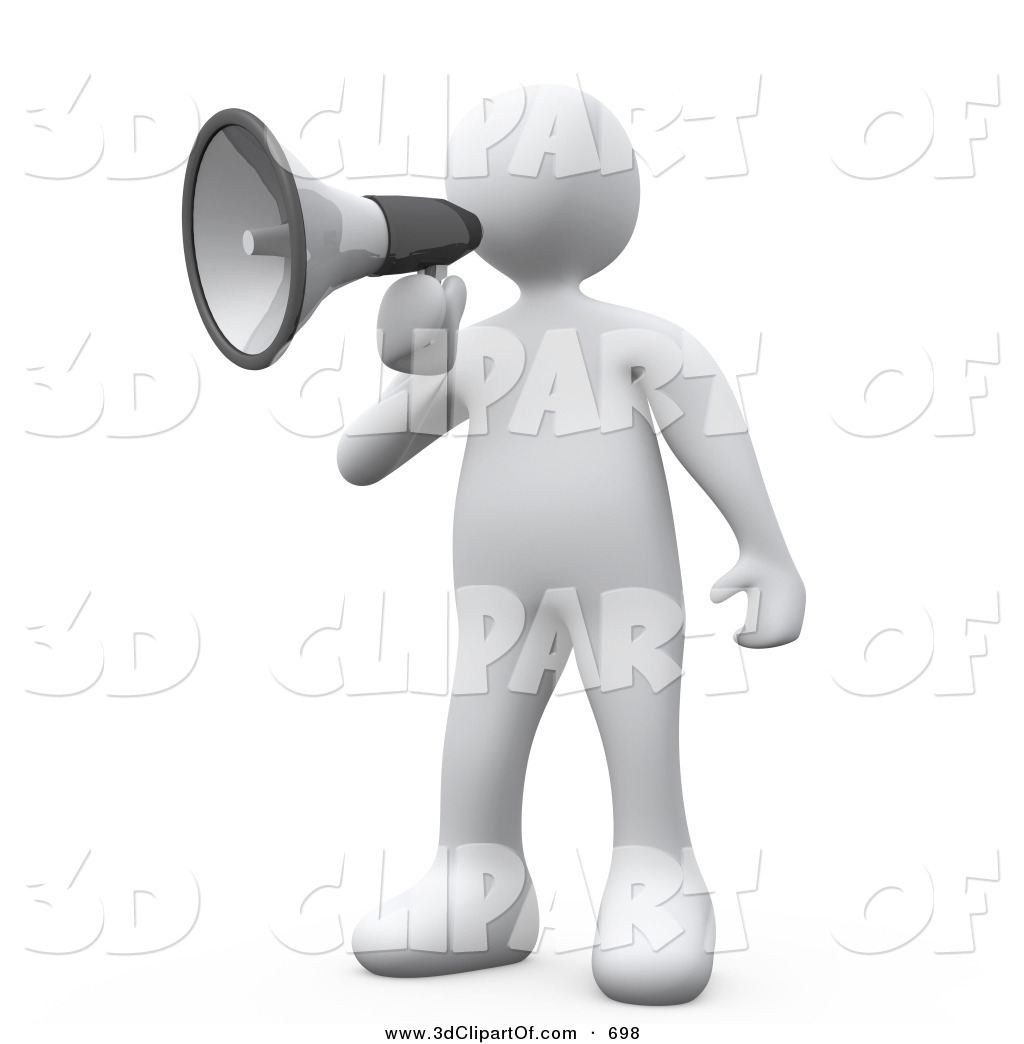 3d Clip Art of a White Man Making an Announcement and Using a.