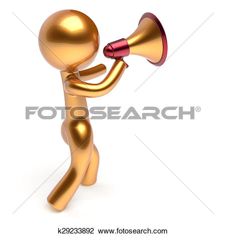 Clip Art of Man character speaking megaphone making announcement.