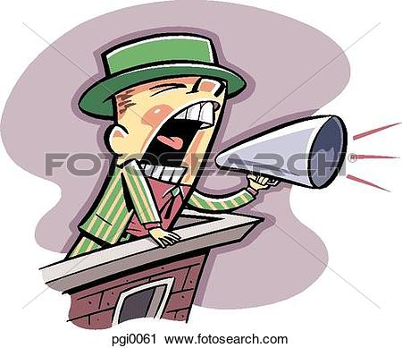 Clipart of man making an announcement pgi0061.