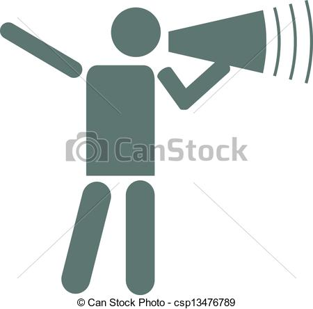 Vector Clipart of Man making an announcement..
