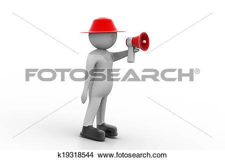 Drawings of 3d man making announcement over loudspeaker k19318544.
