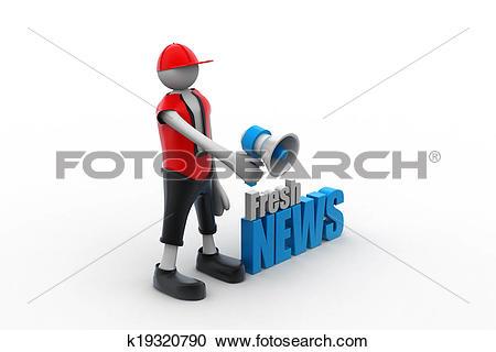 Stock Illustrations of Man making announcement k19320790.