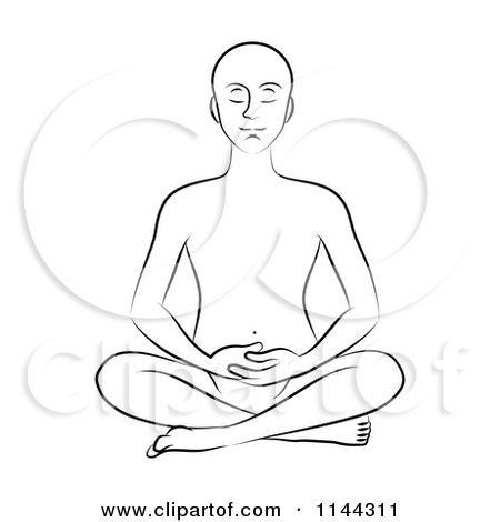 Clipart of a Black and White Line Drawing of a Man Meditating with.