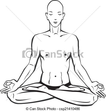 Vector of Sketch of man in meditating and doing yoga poses.