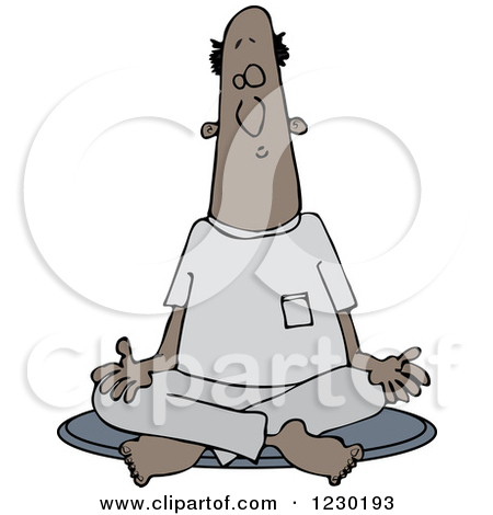 Clipart of a Black and White Man Meditating in the Lotus Pose.