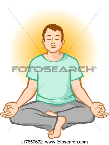 Clipart of Man Meditating k5872901.