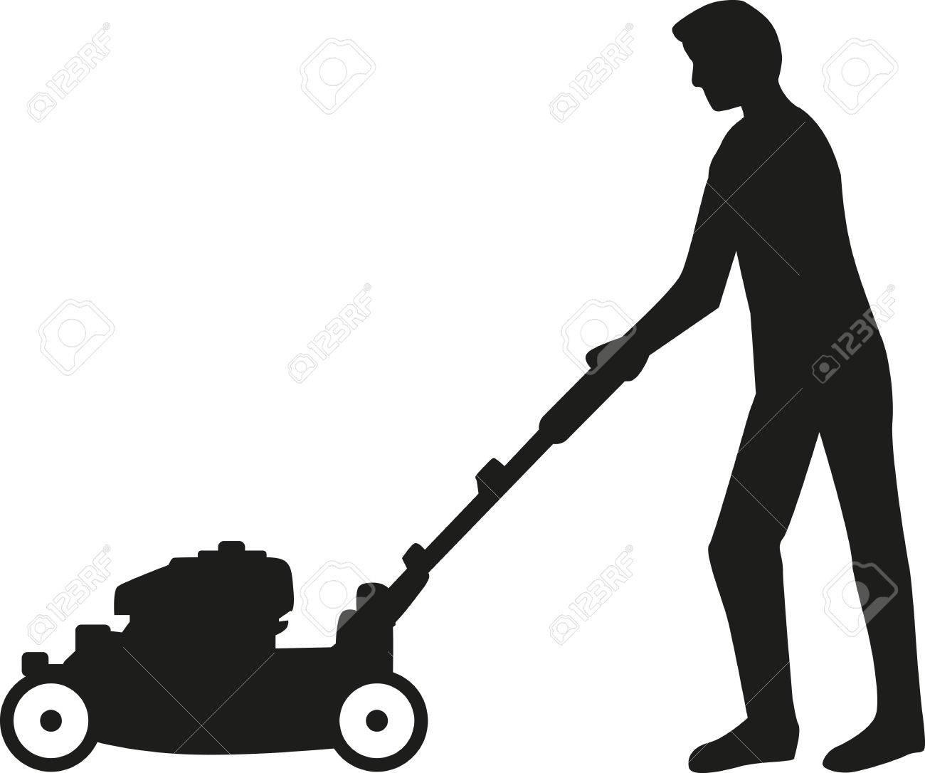 Man using lawn mower silhouette.