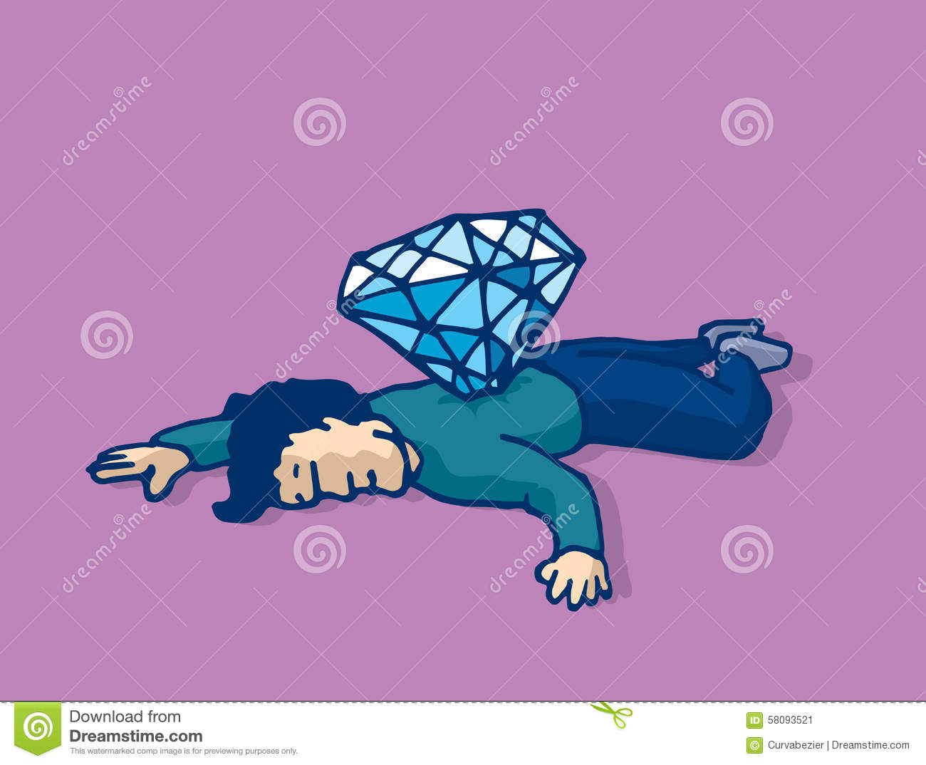 Dead Man Stabbed With Diamond Murdered For Money Stock Vector.