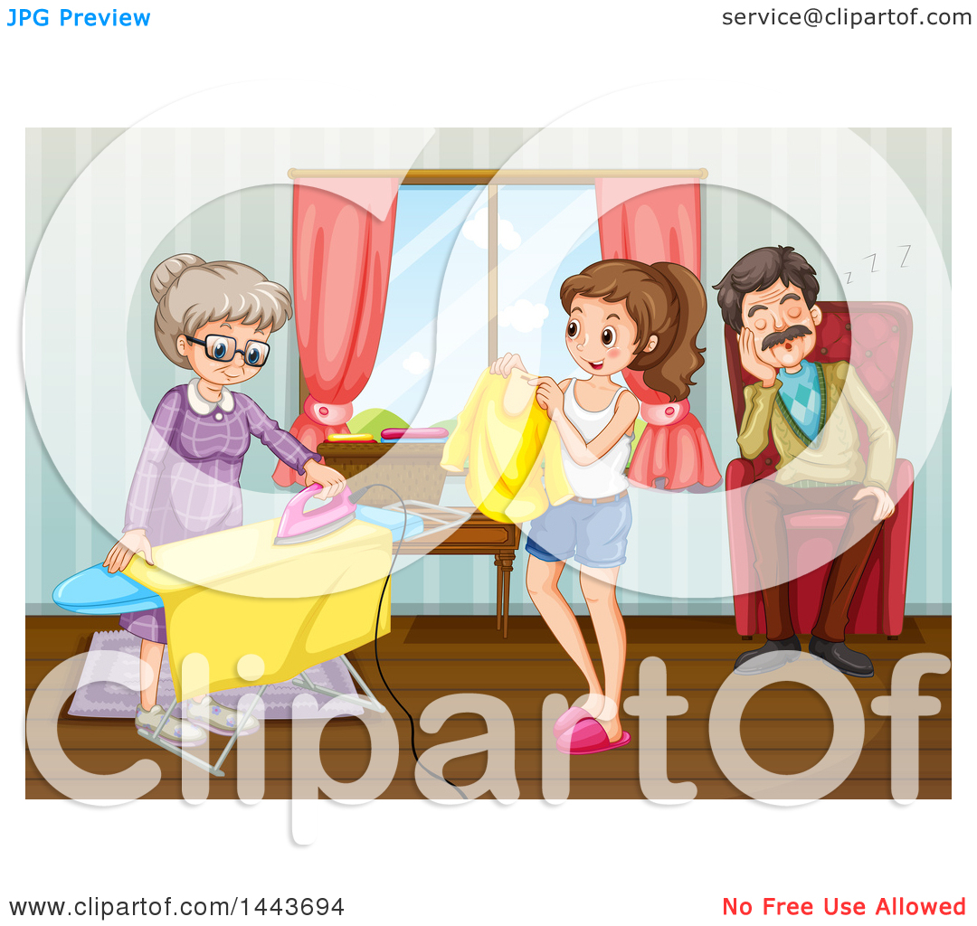 Clipart of a Man Napping While a Girl and Granny Fold and Iron.