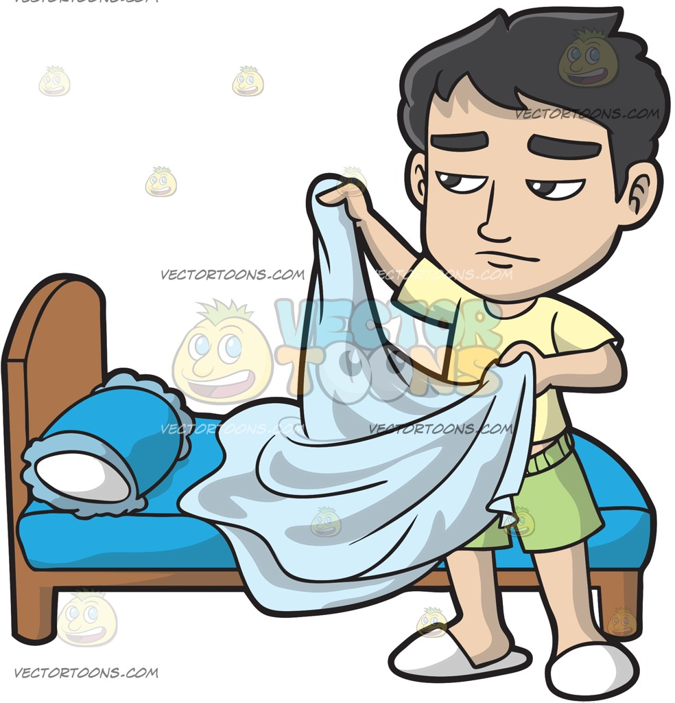 A Sleepy Man Folding His Blanket Cartoon Clipart.