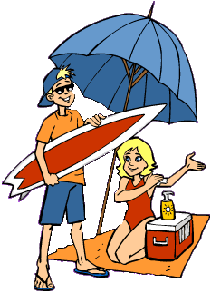 Man and woman on beach clipart.