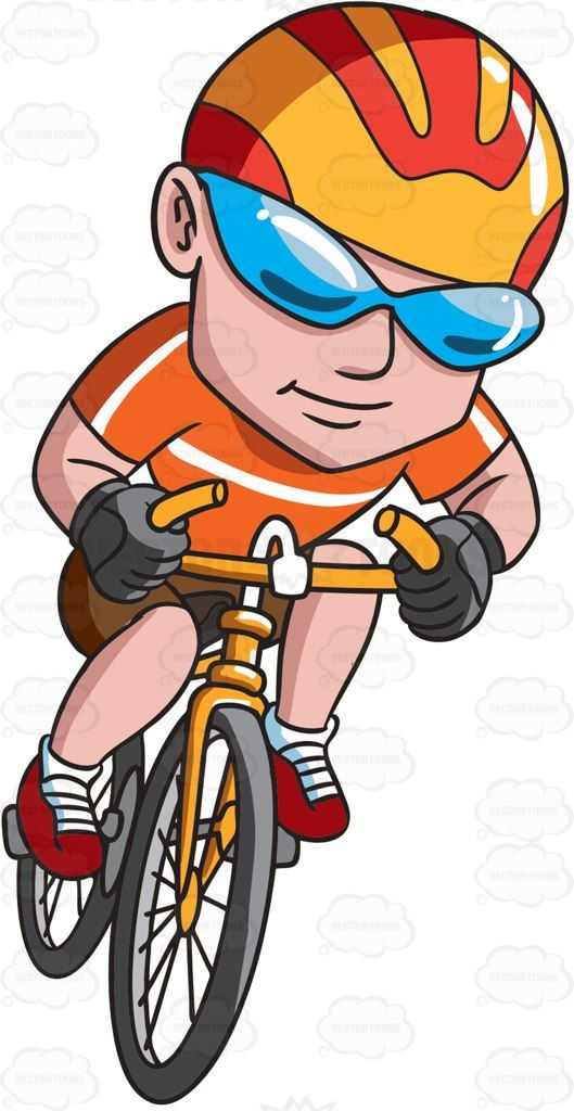 A happy man riding a bike #cartoon #clipart #vector.