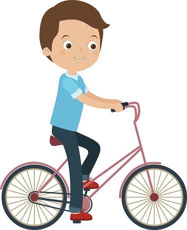 Man riding a bike Clipart Image.