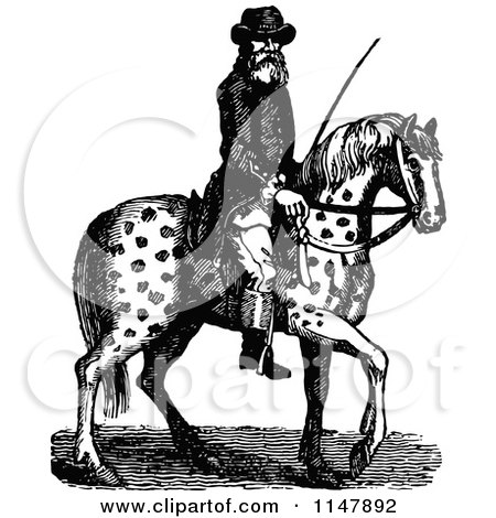Clipart of a Black and White Vintage Man Riding a Wild Horse.