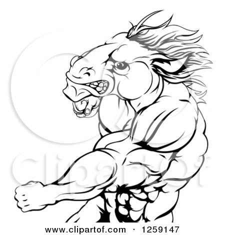 Clipart of a Black and White Angry Muscular Horse Man Punching.