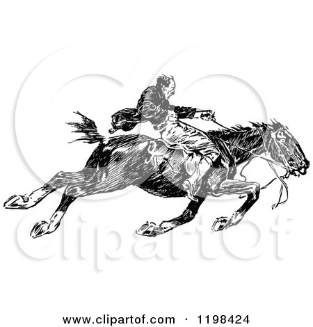 Clipart of a Black and White Vintage Man Riding a Fast Horse.