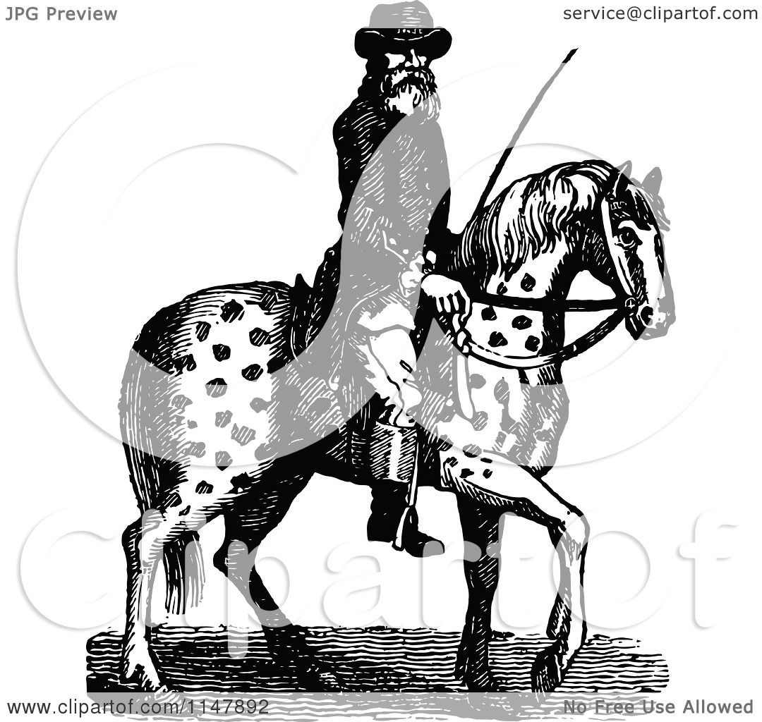Clipart of a Retro Vintage Black and White Man on a Spotted Horse.