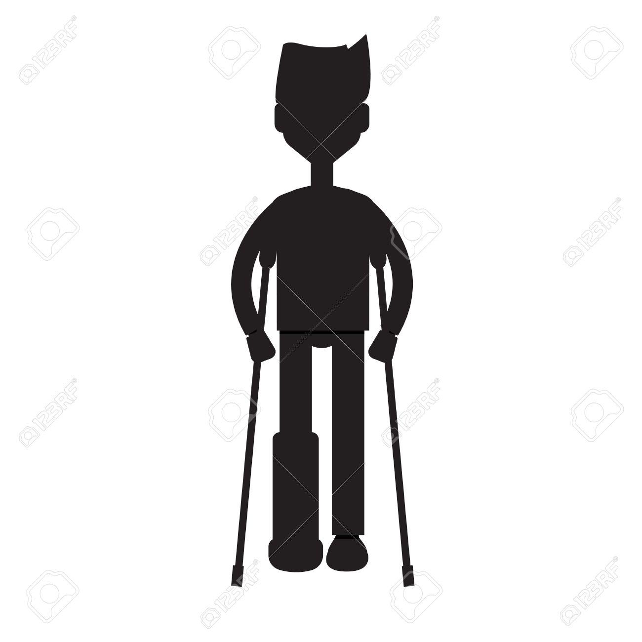 Man On Crutches silhouette.