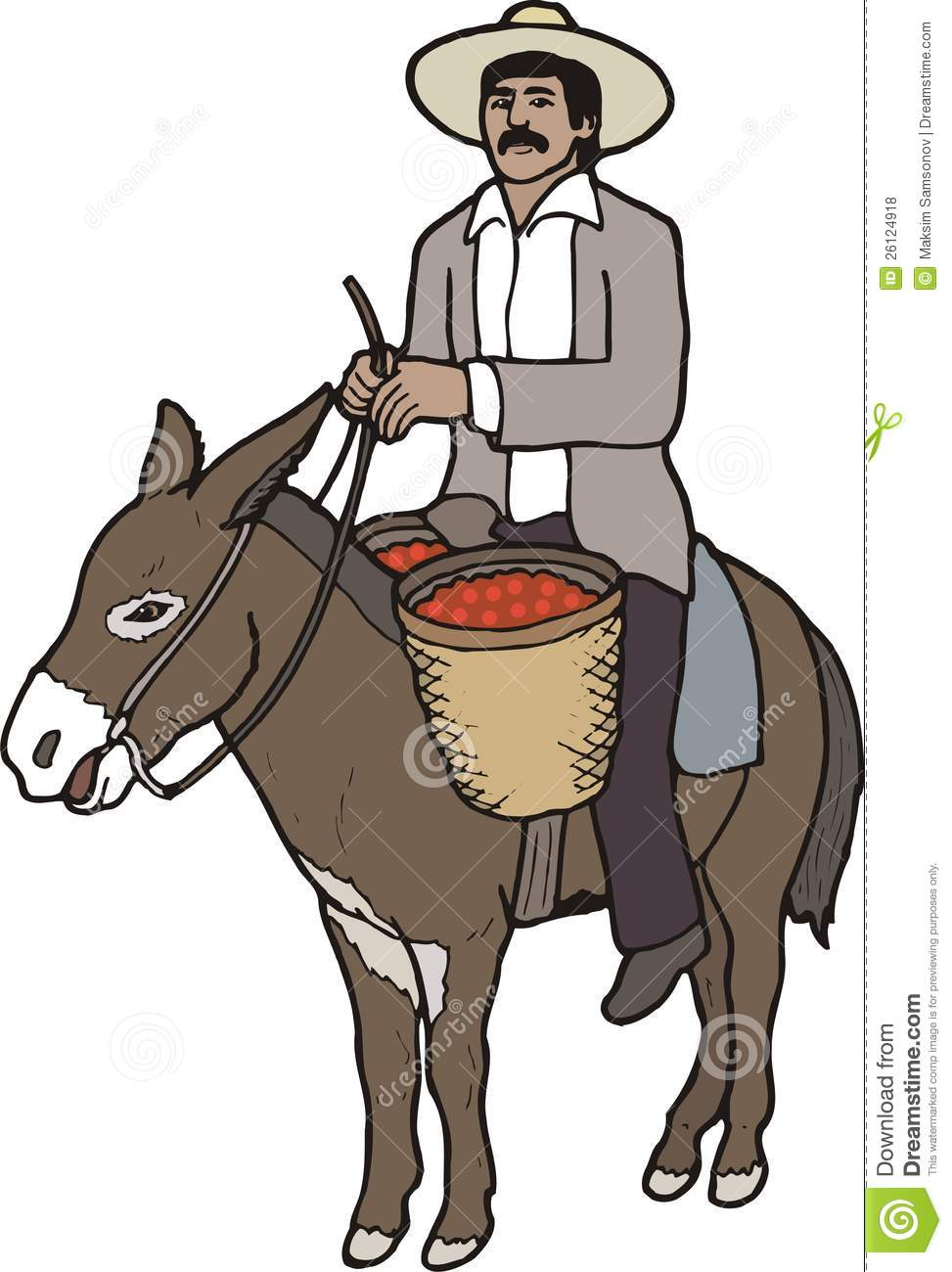 Man on a donkey clipart.